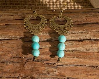 Turquoise Bohemian Bronze Circle Earrings