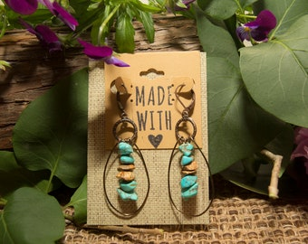 Turquoise and Jasper Drop Earrings