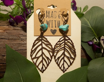 Antique Brass And Turquoise Leaf Earrings