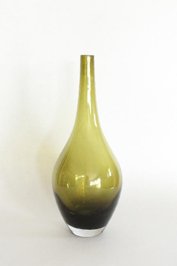 Green Blown Glass Teardrop Vase Etsy