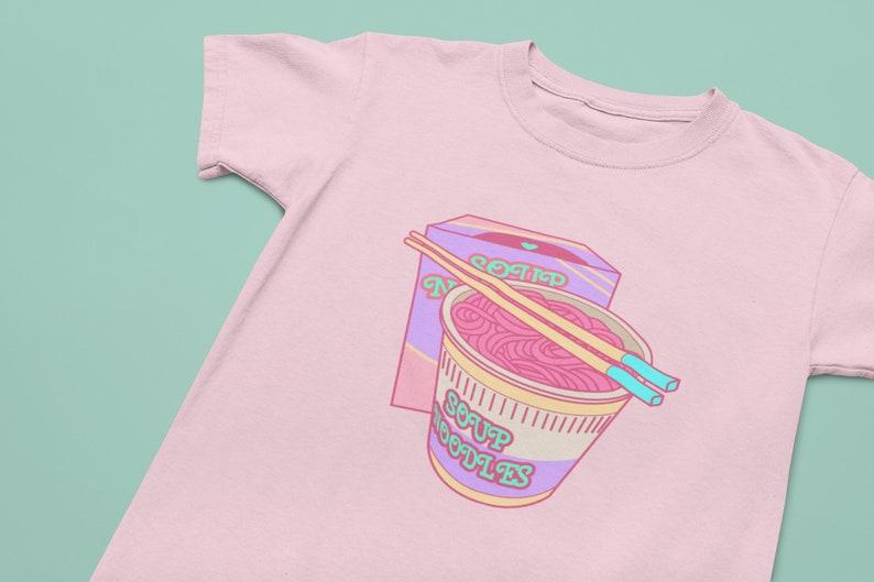 Pastel Clothing Pastel Goth Soft Cotton Tee Soup Noodles Kawaii Tee Sad Girls Anime Tee Harajuku Shirt Pink Aesthetic T-shirt