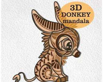 Donkey SVG Mandala Svg Cut File for Glowforge Laser Cut Silhouette Cricut Cutting Machine 3D Mandala Zentangle Digital Download Donkey Svg