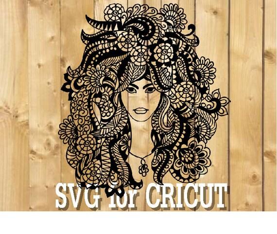 Svg mandala femme / femme zentangle svg s'épanouir femme svg / fleur de cheveux svg / femme svg / fleur fleur svg de puissance / femme pour cricut png