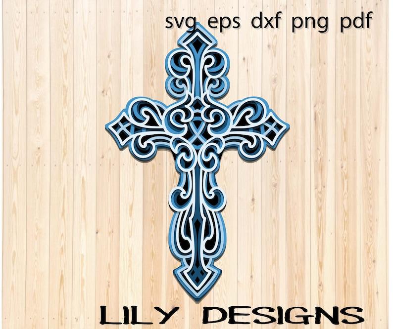 Download Layered Cross SVG Layered mandala dxf | Etsy