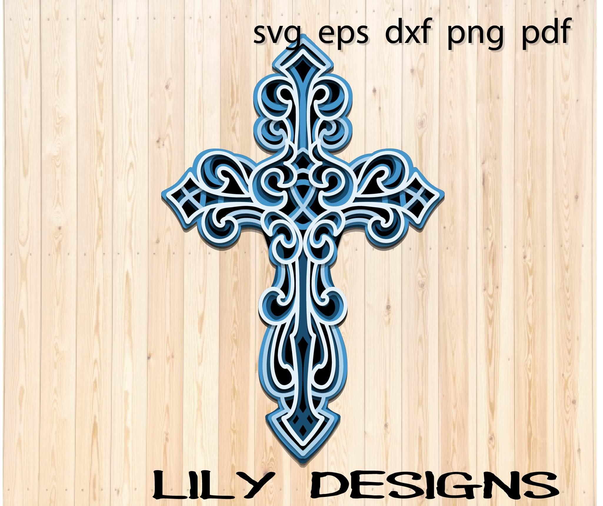 Download Layered Cross SVG Layered mandala dxf   Etsy