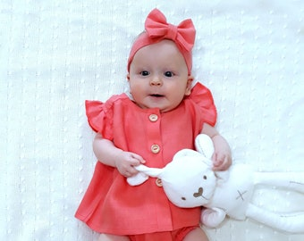 Linen Baby Set, Linen Baby clothes, Baby Dress, Baby Linen Dress, Coral Baby Dress, Natural Linen Dress for Baby, Summer Baby Dress