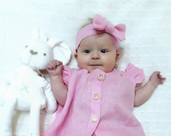 Pink Linen Baby Set, Linen Baby clothes, Baby Dress, Baby Linen Dress, Pink Baby Dress, Natural Linen Dress for Baby, Summer Baby Dress