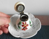 A 39 Present from Liverpool 39 Inkwell. Floral Decorated Porcelain Ink Bottle. Continental Porcelain. Hand Painted Souvenir Inkwell