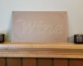 Wine Sign with corner scroll engraving (Aged Copper Look)