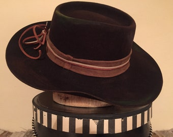 Hand Painted and Distressed Vintage Felt Hat with Suede Hat Band (6 7/8-7)