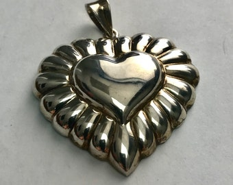 Sterling Silver, Three Dimensional, Puffed Heart Pendant
