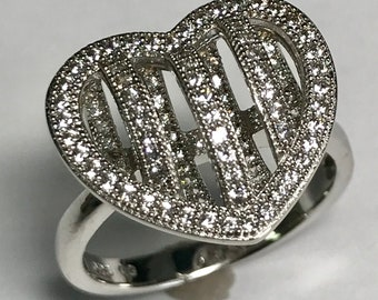 Sterling Silver, 3 Dimensional Simulated Diamond Heart Ring