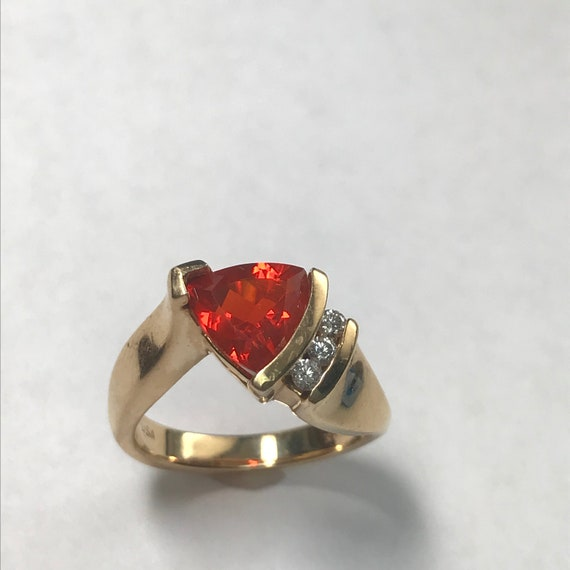 Vintage 14 k Gold Glowing Mexican Fire Opal And Di