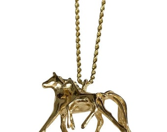 14 K Yellow Gold Mama & Baby Horse 3 Dimensional Pendant/Rope Chain