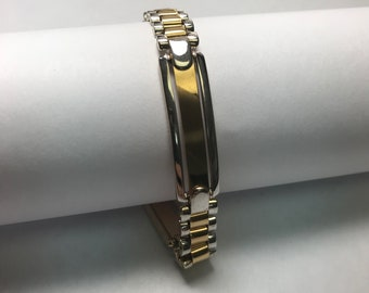 14 K Two Tone Gold ID Bracelet