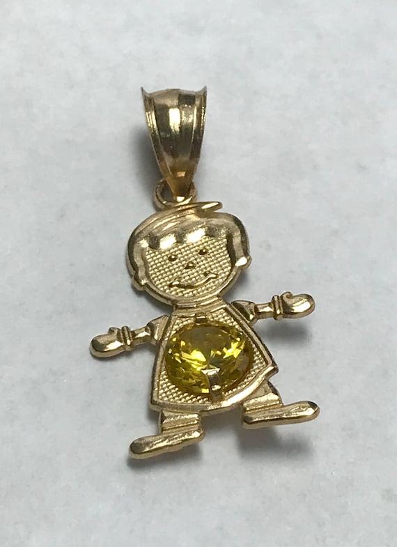 14 K Yellow Gold November Birthstone Boy Charm