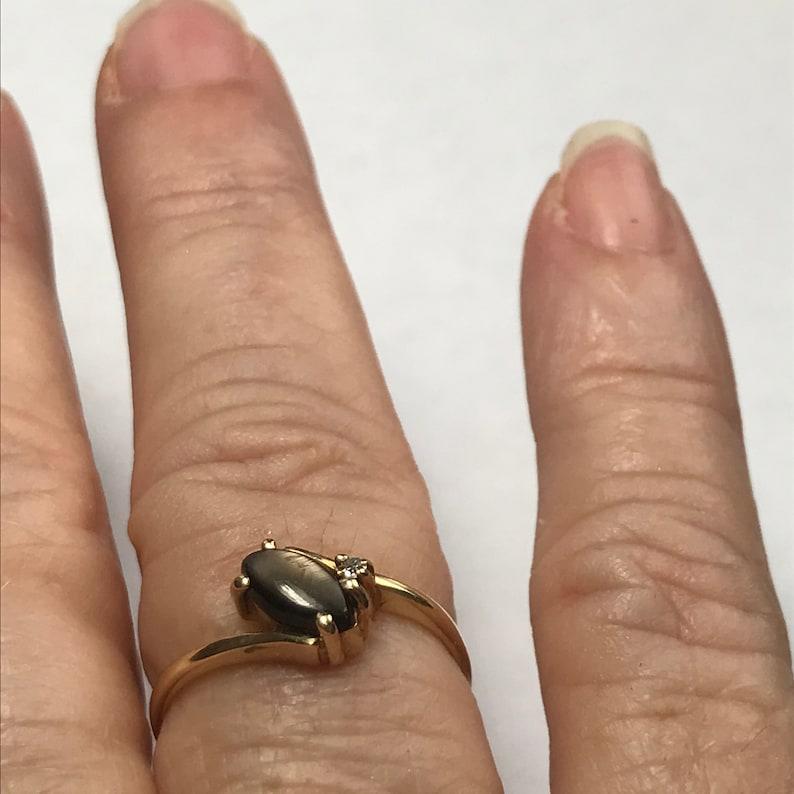 14 K Yellow Gold Cats Eye And Diamond Ring