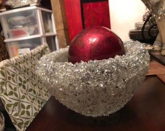 Crushed Glass and Mirror Encrusted Bowl