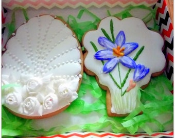 Mothers Day, Decorated Cookies -Spring Flowers , Floral cookies , Personalized cookies, shortbread cookies