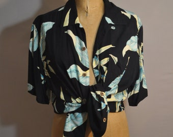 433b5412 Vintage Hawaiian Shirt / Summer Top / Cover-up / Black & Blue / Green Tropical  Floral Pattern / Unisex / Men's / Women's / Caribbean Joe