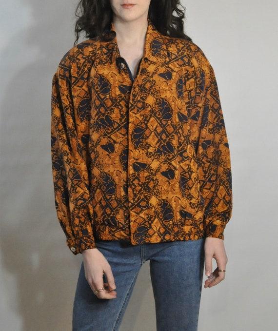 80s Windbreaker Jacket / Retro SILK Orange & Blue… - image 6