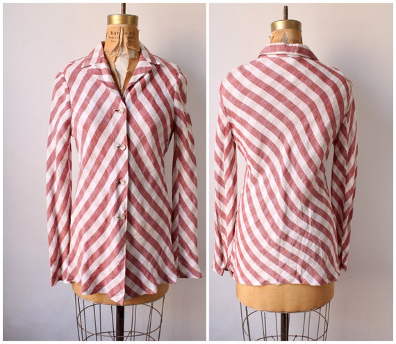 1970s80s red white and blue stripe blouse