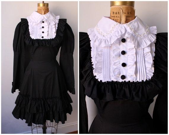 Gothic Black & White Dress / Vintage Dress with Ru