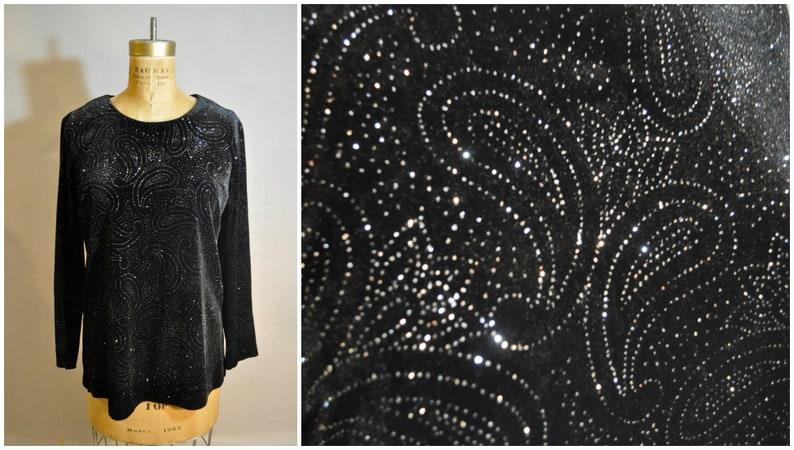 Black /& Silver Velvet Holiday Top  90s Vintage Sparkly Blouse  Shirt  Christmas Party  New Years Eve Clothes