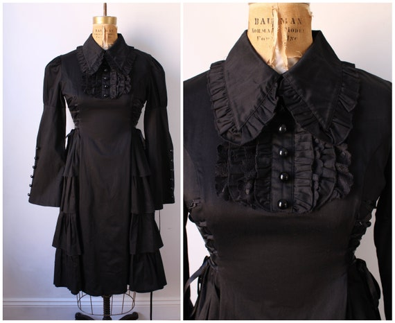 Gothic Black Lace Up Dress / Vintage Dress with Ru