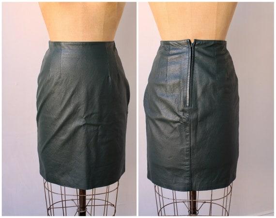 80s Green Leather Skirt / Vintage Mini Skirt / Pen