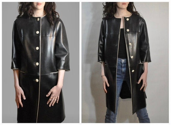 60s Mod Duster Coat / Vintage Black and White Leat