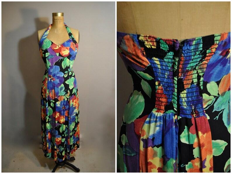 a56fcb04708d 80s Floral Halter Sundress / Vintage Dress / 1980s Carole | Etsy
