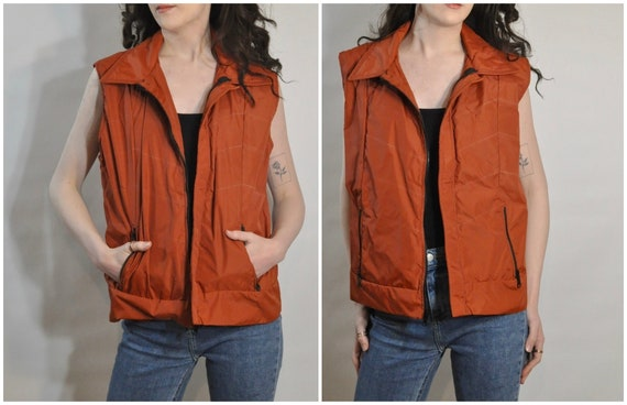 Rust Orange Windbreaker Vest / 1970s Vintage Sleev