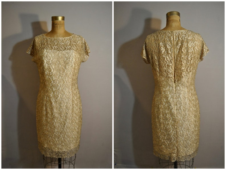 80s Bob Mackie Gold Dress Vintage Sheer Lace Beaded New Years Eve Party Dress Metallic Dress Formal Dress 1980s