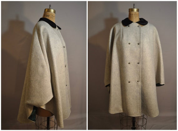 60s Mod Cape Coat with Black Velvet Collar, Emeral