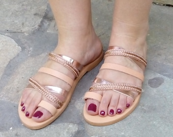 Rose gold strappy handmade sandals