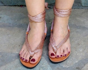 Gladiator pink gold handmade sandals