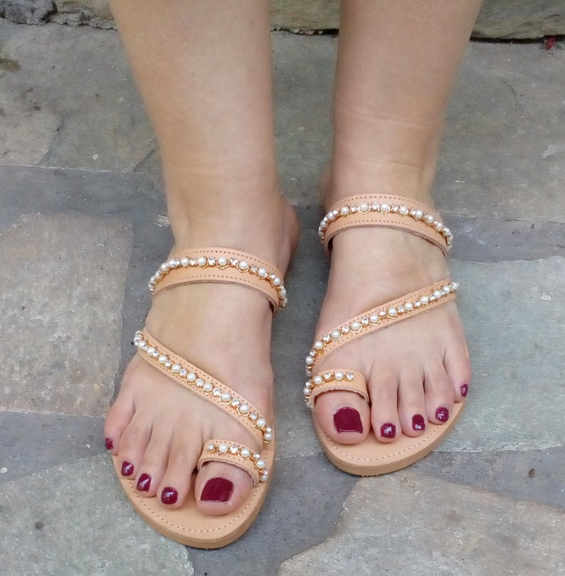 495cb49520d64 Crystals with pearls strapy toe ring handmade sandals - perfect as wedding  shoes-sandals-bridal sandals