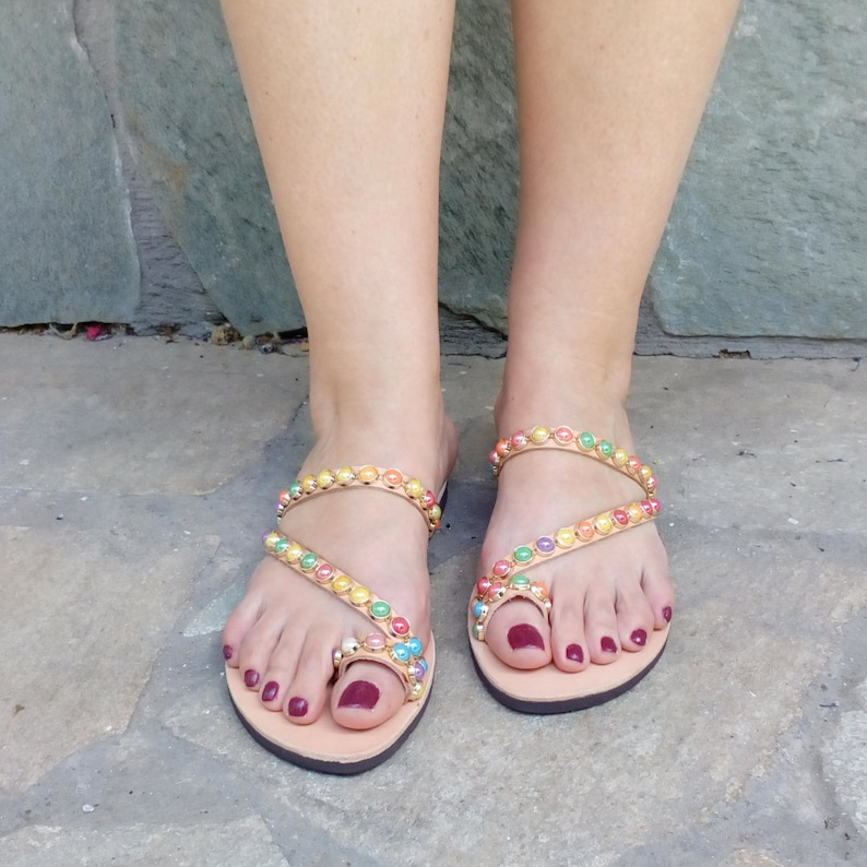 43b4d8a3cce12 Multicolored pearls toe ring strappy handmade sandals-beaded sandals