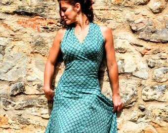 long elegant dress in printed cotton