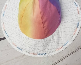 Rainbow Sun Hat with bow detail to back. Baby girl 12-18 month