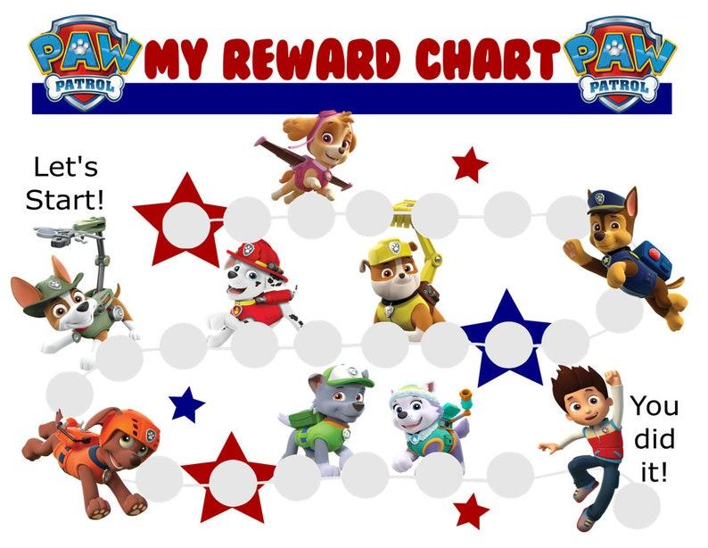 paw patrol reward chart printable pdf reward charts for