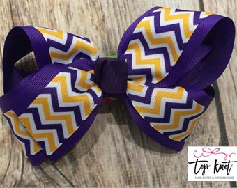LSU Hair Bow, Purple and Yellow Chevron Bow, Geaux Tiger Bow, LSU Tigers Hair Bow, Tiger Chevron Hair Bow, Southern Girl Hair Bow, LSU fan