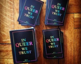 """10 stickers """"In Queer We Trust"""""""