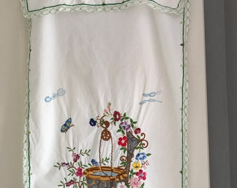 Tea towel hand embroidered