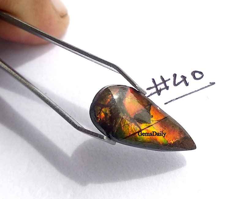 Top Quality Cabochons For One Piece 100 /% Natural Gemstone 6x14 MM Natural Ammolite Fossil Gemstone Iridescent Matrix