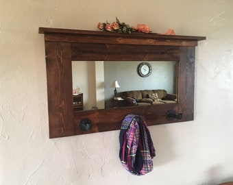 rustic western mirror with hooks