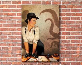 Lovecraft canvas, Cthulhu wall art, Cthulhu canvas, Howard Phillips Lovecraft, Cthulhu print