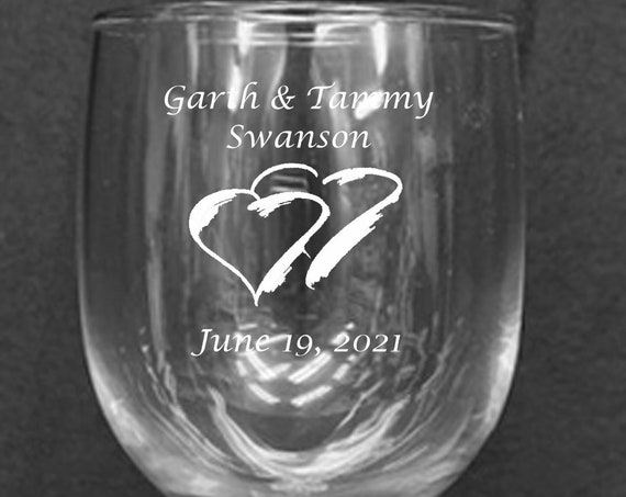 Wedding Clear 12.5 oz. Laser Engraved Stackable Wine Goblets ( set of 2 ) Ideal for that Special occasions (PLEASE READ DESCRIPTION)