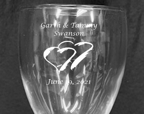 Wedding Clear 7 oz. Laser Engraved  Wine Goblets ( set of 2 ) Ideal for that Special occasions (PLEASE READ DESCRIPTION)